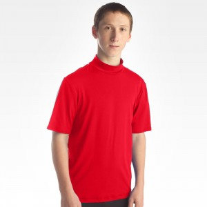 Mens Mock Short Sleeve Supplex Red