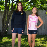 Amber Krista blue and pink tops blue shorts tree