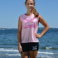 Krista pink top blue shorts water